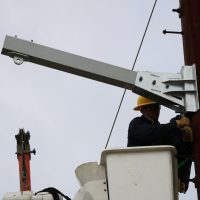 EKPC Davit install grey lineman bucket steel pole
